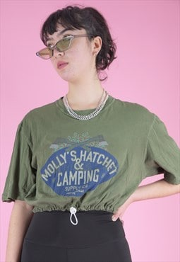 Vintage Reworked Crop Top T-Shirt in Green w Camping Print