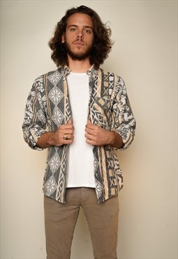 Grey Beige Aztec pattern Shirt M