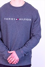 Vintage Tommy Hilfiger Spell Out Embroidery Sweatshirt Grey