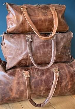 Dark Brown Leather Men's Travel Duffle Holdall Gym Bag