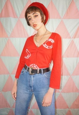 Vintage 90s / Y2K Red Tie Dye Boho Long Sleeve Top