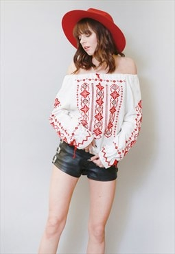 Vintage 1970's White & Red Embroidered Hippy Boho Top