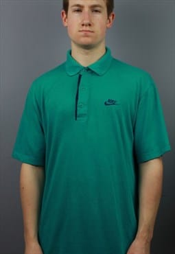 Vintage Nike Silver Tag Polo Shirt in Green with embroidery