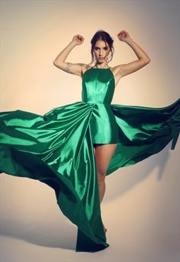 Green evening dress with open back