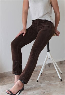 Vintage chocolate brown velvet cotton stretch crop pants