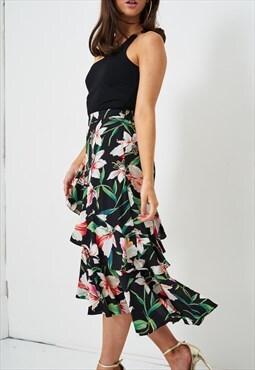 Belle Floral Frill-Hem Asymmetric Midi Skirt