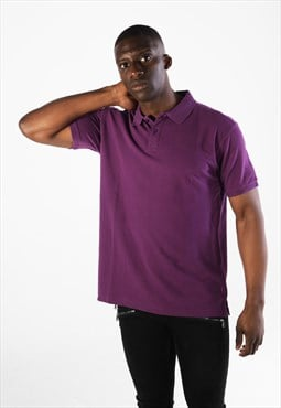 Essential Short Sleeve Collared Polo Shirt Top - Purple