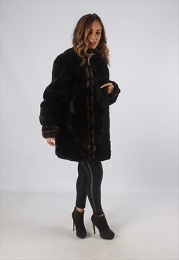 Vintage Faux Fur Coat Jacket Short Mid UK L 14 (9BD)