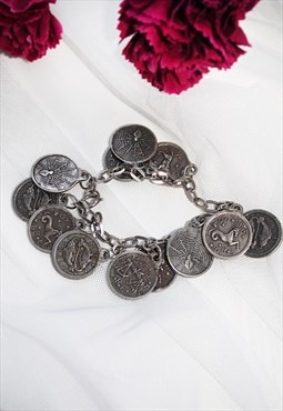 90s Vintage Silver Coin Charm Witch Zodiac Bracelet