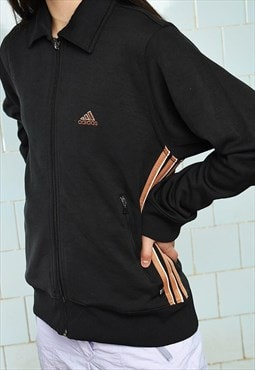 Vintage 90s thin full zip ADIDAS sweatshirt jumper black