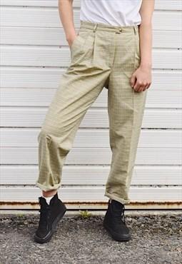Vintage 90s Check Trousers Lemon Yellow