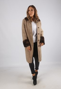 Vintage Sheepskin Suede Shearling Coat Mid Long UK 12 (9AK)