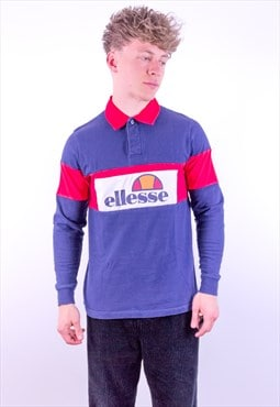 Vintage Ellesse Spell Out Rugby Polo Shirt in Blue