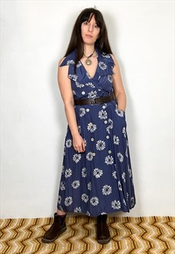Vintage 90's Daisy Print Navy Blue Midi Dress