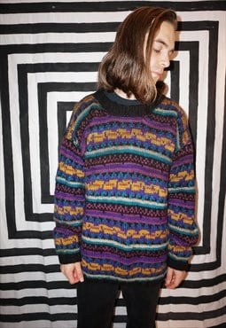 Vintage 90s Grunge Colourful Fairisle Patterned Wool Jumper