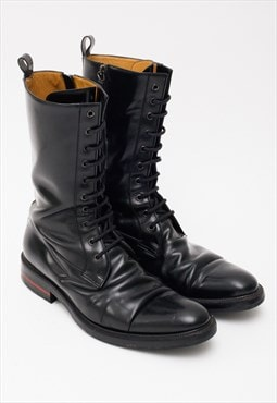 Vintage Gucci Boots Black Leather Combat Lace Up Shoes