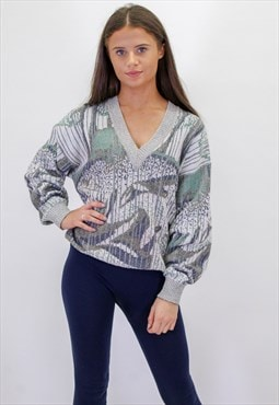 Vintage Crazy Pattern V-Neck Sweater