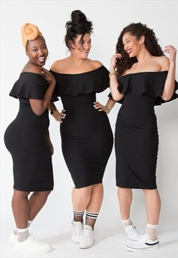 Diida Bardot Dress in Black bodycon jersey shapewear.