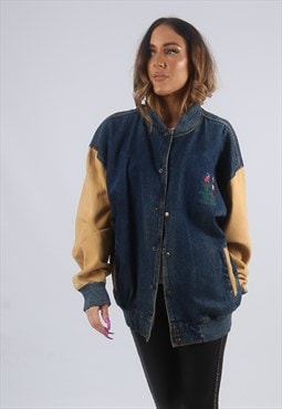 Vintage Denim Bomber Jacket Oversized Olympic UK 18 (KBZ)