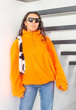 Vintage 90s fluo orange oversize cozy fleece