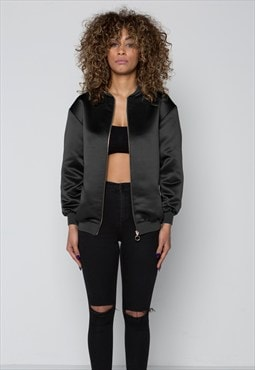 Black Satin Bomber Jacket with Leopard Lining