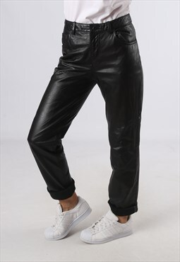 Leather Trousers High Waisted Tapered Vintage Small (GJ4C)