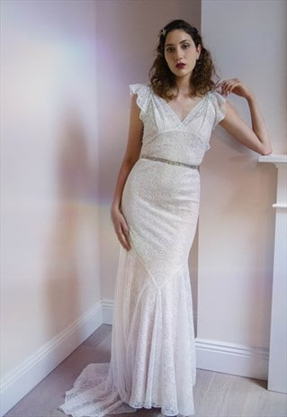 PERFECT SAMPLE 1930S STYLE LOW BACK STUNNING GOWN & SLIP, 10