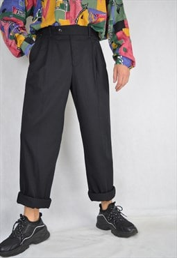 Vintage black classic straight suit trousers