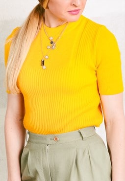 Vintage 70s Ribbed Knit Tee Shirt
