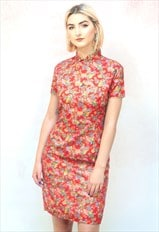 1990s vintage red and gold floral Chinese dress