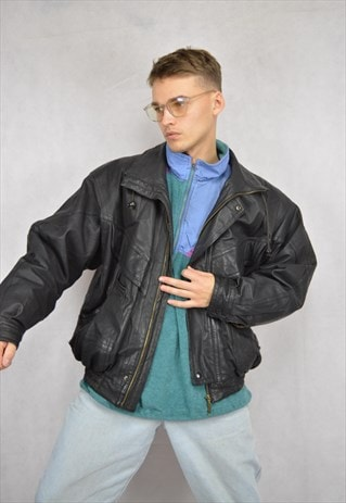 Vintage black classic 80's leather bomber jacket