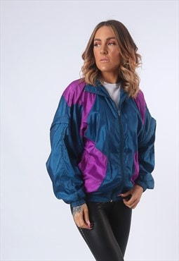 Shell Jacket Bomber Track Oversized Vintage UK 12 (E5AN)