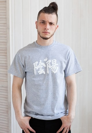 YIN YANG T SHIRT - IN YO JAPANESE JAPAN YOGA TAOISM TYPO