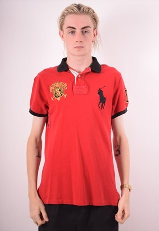 POLO RALPH LAUREN MENS VINTAGE POLO SHIRT MEDIUM RED 90S