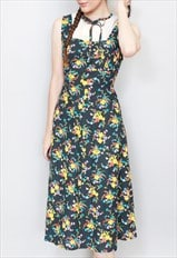 Vintage 1970's Floral Cotton Folk Midi Dress