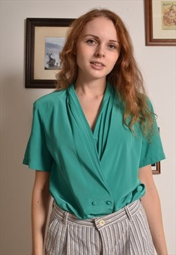 Vintage 80s Button Blouse in Green