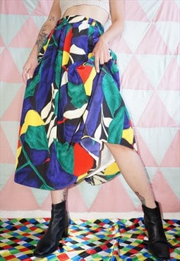 Vintage 80s Colourful Abstract Pattern Mid Calf Skirt