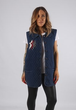 Vintage Denim Waistcoat Jacket Oversized Long Gilet  (82O)