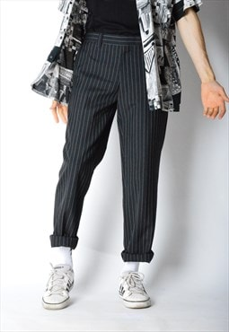 Vintage 90s Black Striped Wool Blend Pants