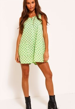 Lime Green Polkadot Playsuit