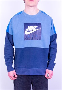 Vintage Nike Air Sweatshirt Spell Out Blue Large