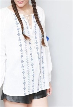 Vintage 1970's White & Blue Embroidered Boho Festival Top