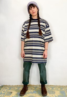 VINTAGE 90's Oversized Stripe T-Shirt Dress Top