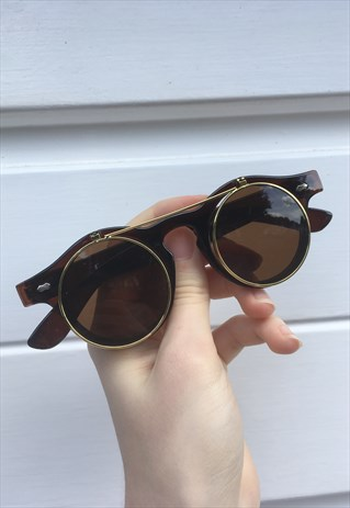 UNISEX 80S STYLE FESTIVAL BOHO BROWN STEAM PUNK SUNGLASSES