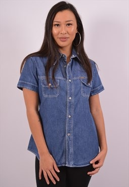 Vintage Diesel Denim Shirt Short Sleeve Blue