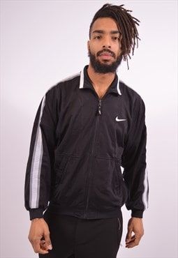 Nike Mens Vintage Tracksuit Top Jacket Small Black 90s