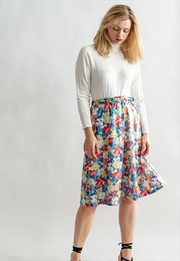 Vintage 80s pleated midi skirt in floral