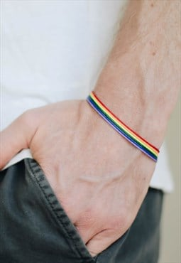 Pride bracelet mens bracelet rainbow flag colors LGBT