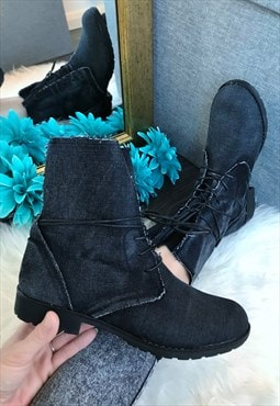 Black Distressed Denim Ankle Boots