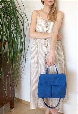 suede blue 2in1 bag, mini backpack / shoulder bag